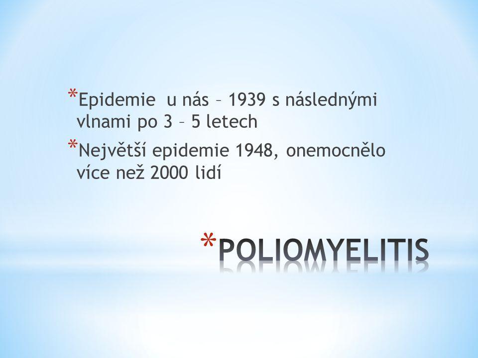 * Epidemie u nás – 1939 s následnými vlnami po 3 – 5 letech * Největší epidemie 1948, onemocnělo více než 2000 lidí
