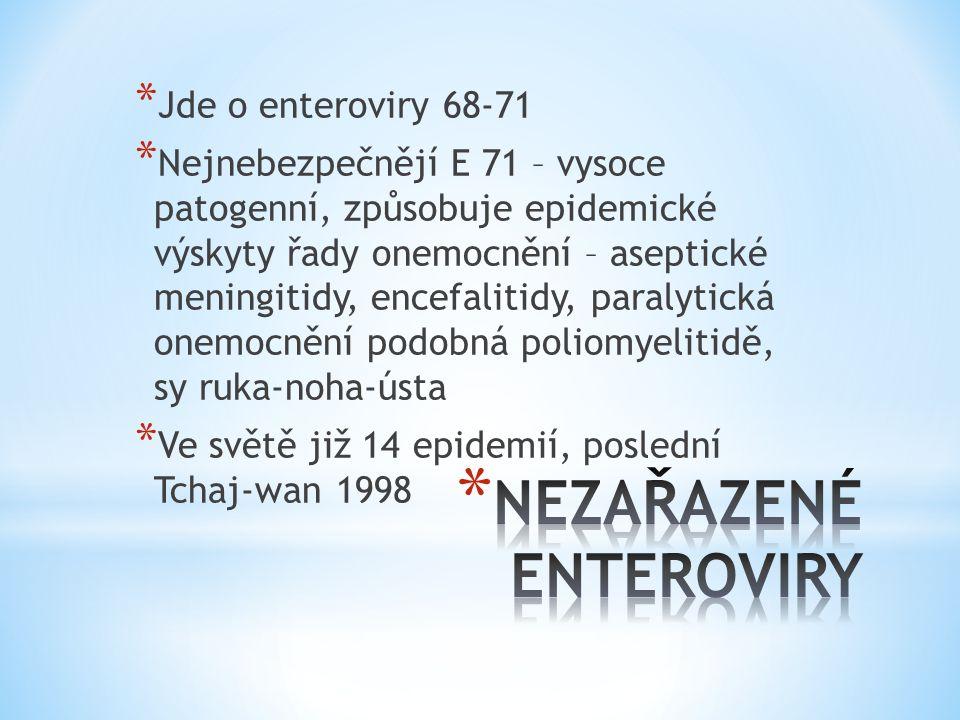 * Jde o enteroviry 68-71 * Nejnebezpečnějí E 71 – vysoce patogenní, způsobuje epidemické výskyty řady onemocnění – aseptické meningitidy, encefalitidy