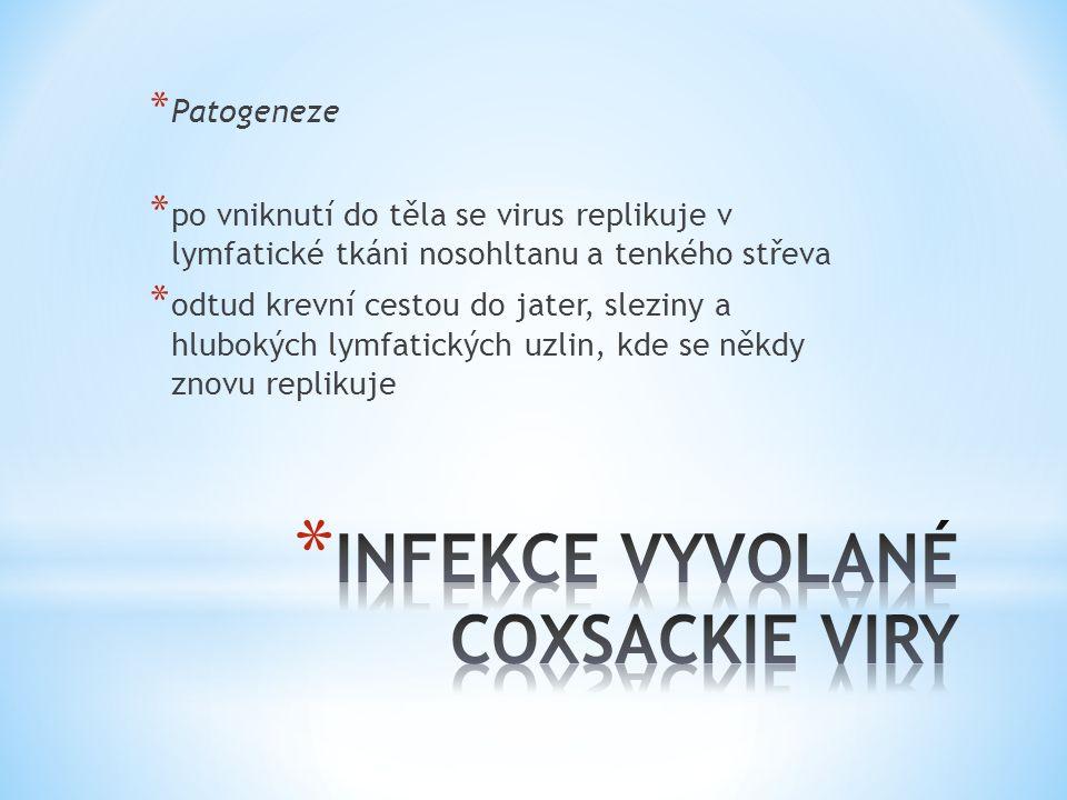* Patogeneze * po vniknutí do těla se virus replikuje v lymfatické tkáni nosohltanu a tenkého střeva * odtud krevní cestou do jater, sleziny a hluboký