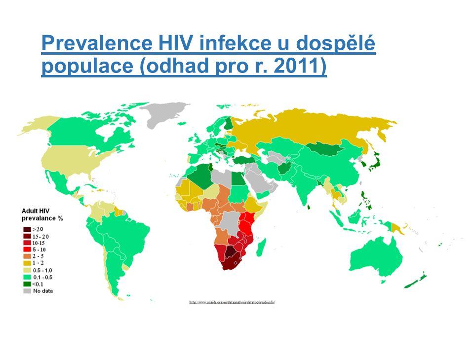 Prevalence HIV infekce u dospělé populace (odhad pro r. 2011)