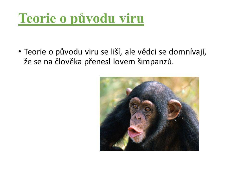 Teorie o původu viru Teorie o původu viru se liší, ale vědci se domnívají, že se na člověka přenesl lovem šimpanzů.