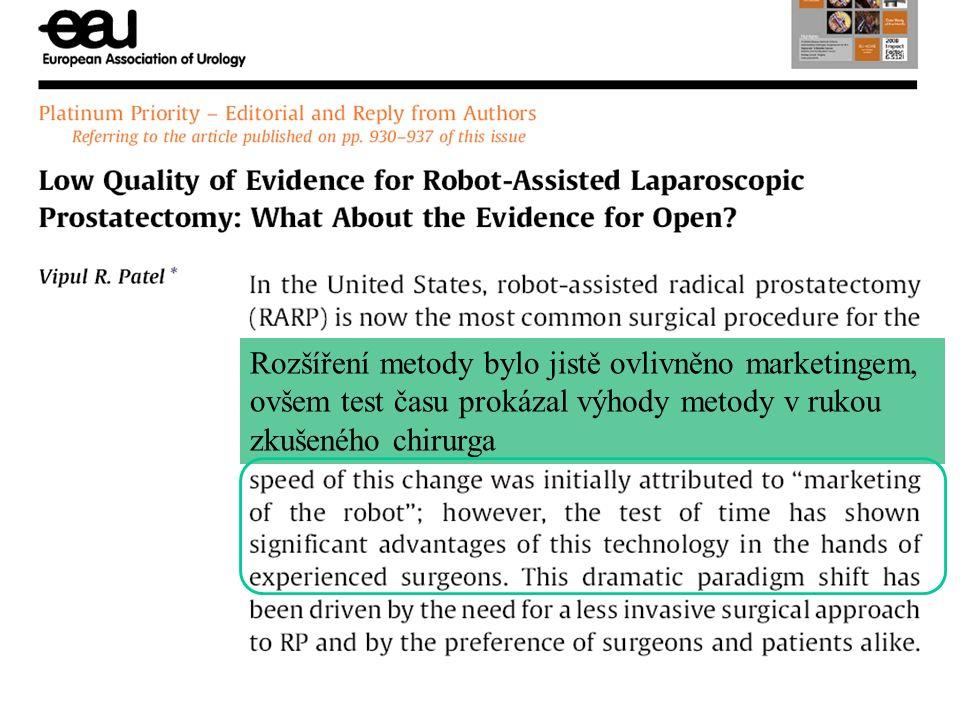 Rozšíření metody bylo jistě ovlivněno marketingem, ovšem test času prokázal výhody metody v rukou zkušeného chirurga