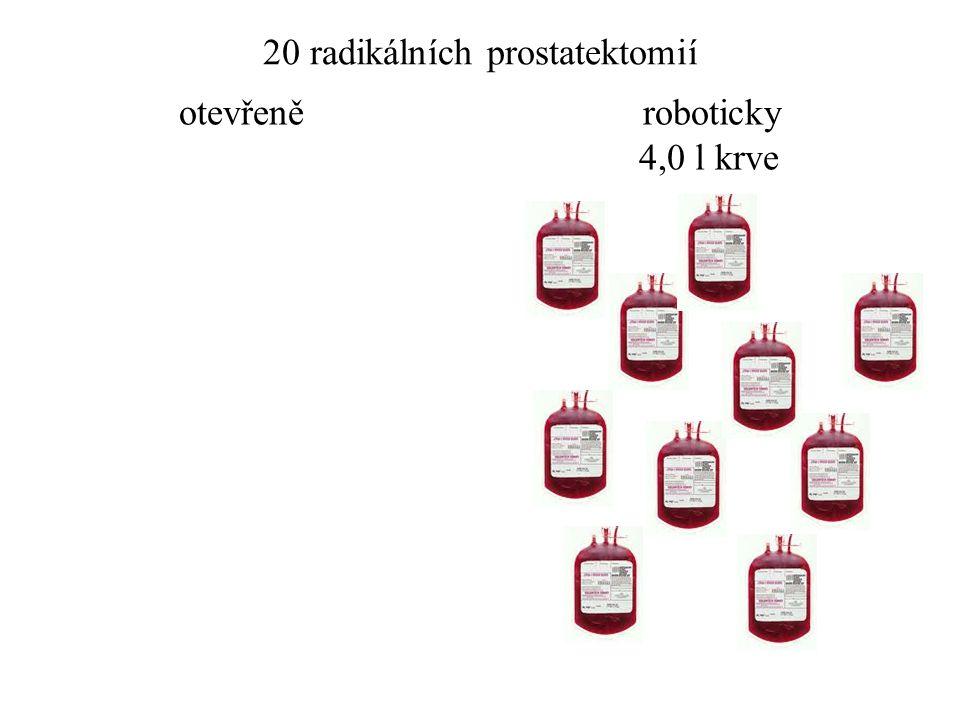 20 radikálních prostatektomií otevřeně roboticky 4,0 l krve