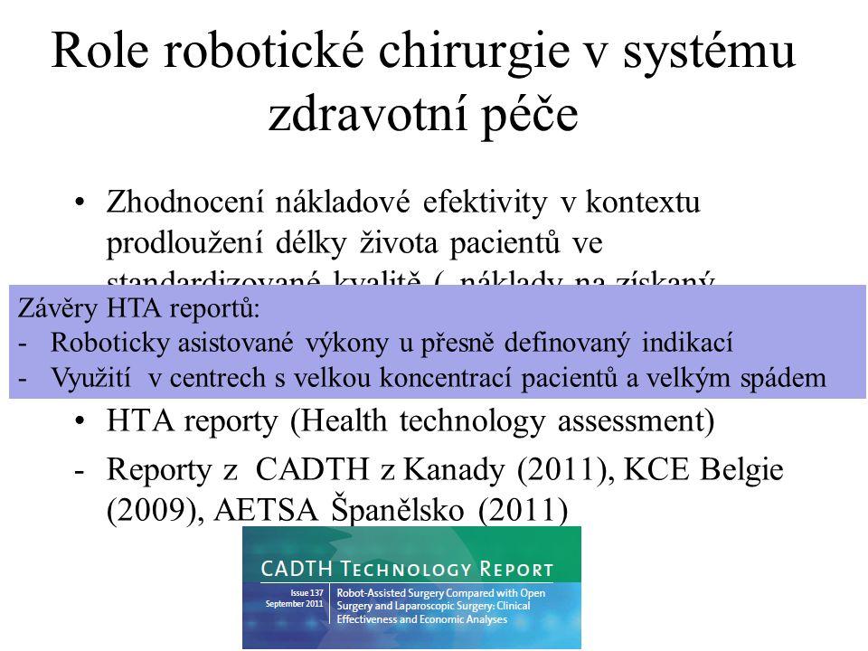"""Role robotické chirurgie v systému zdravotní péče Zhodnocení nákladové efektivity v kontextu prodloužení délky života pacientů ve standardizované kvalitě (""""náklady na získaný QALY ) - Zatím nevyhodnoceno HTA reporty (Health technology assessment) -Reporty z CADTH z Kanady (2011), KCE Belgie (2009), AETSA Španělsko (2011) Závěry HTA reportů: -Roboticky asistované výkony u přesně definovaný indikací -Využití v centrech s velkou koncentrací pacientů a velkým spádem"""