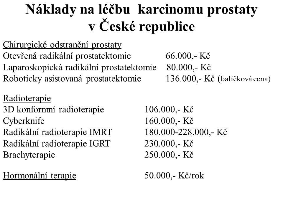 Náklady na léčbu karcinomu prostaty v České republice Chirurgické odstranění prostaty Otevřená radikální prostatektomie 66.000,- Kč Laparoskopická radikální prostatektomie 80.000,- Kč Roboticky asistovaná prostatektomie 136.000,- Kč ( balíčková cena) Radioterapie 3D konformní radioterapie 106.000,- Kč Cyberknife 160.000,- Kč Radikální radioterapie IMRT 180.000-228.000,- Kč Radikální radioterapie IGRT 230.000,- Kč Brachyterapie 250.000,- Kč Hormonální terapie50.000,- Kč/rok