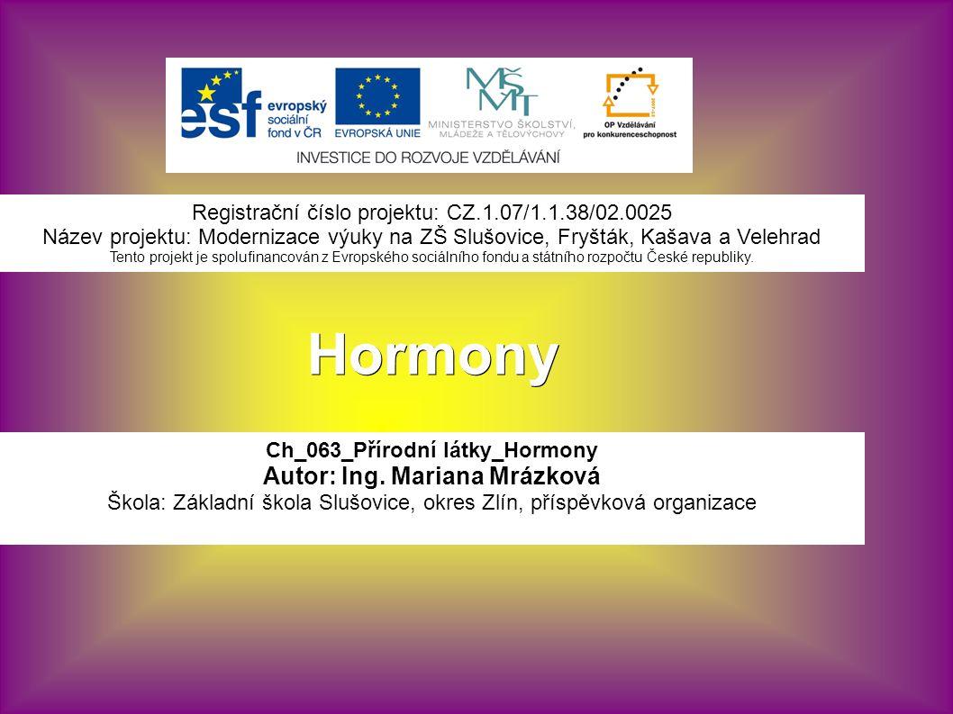 Hormony Ch_063_Přírodní látky_Hormony Autor: Ing.