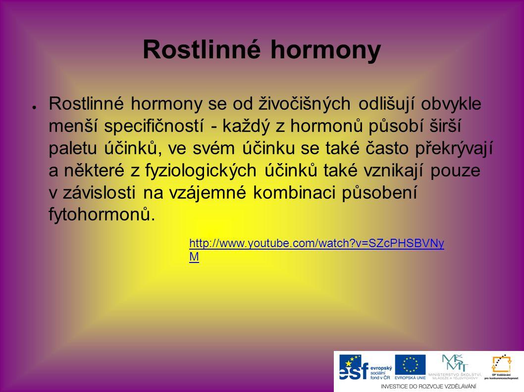Rostlinné hormony ● Rostlinné hormony se od živočišných odlišují obvykle menší specifičností - každý z hormonů působí širší paletu účinků, ve svém účinku se také často překrývají a některé z fyziologických účinků také vznikají pouze v závislosti na vzájemné kombinaci působení fytohormonů.