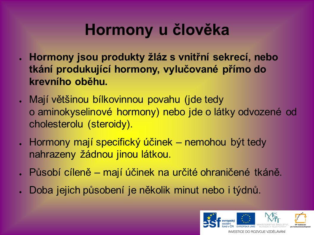 Hormony u člověka ● Hormony jsou produkty žláz s vnitřní sekrecí, nebo tkání produkující hormony, vylučované přímo do krevního oběhu. ● Mají většinou