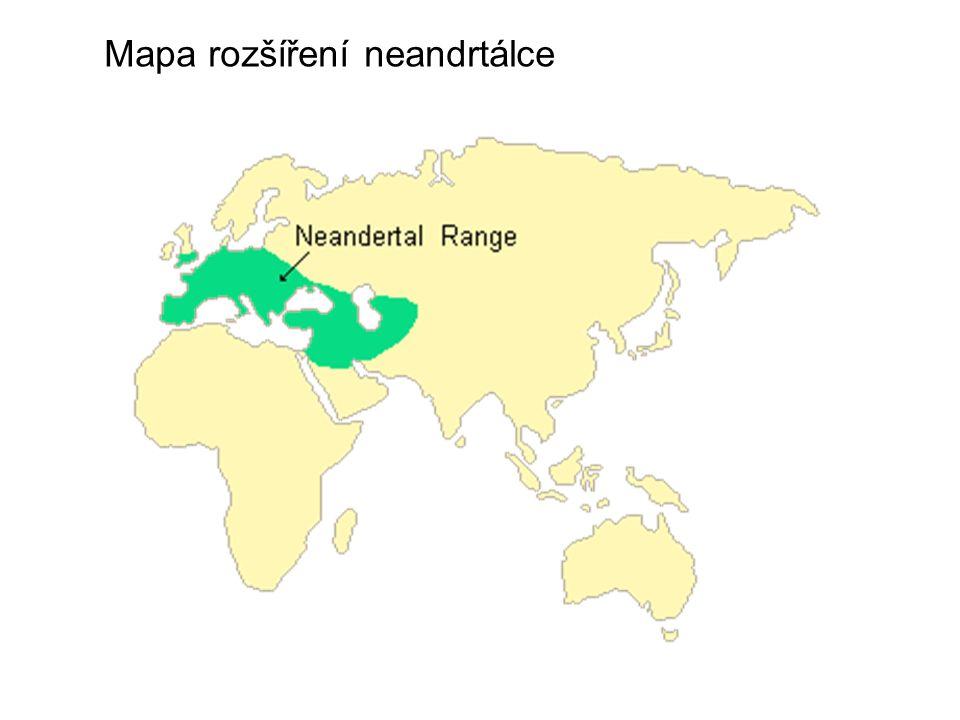 Mapa rozšíření neandrtálce