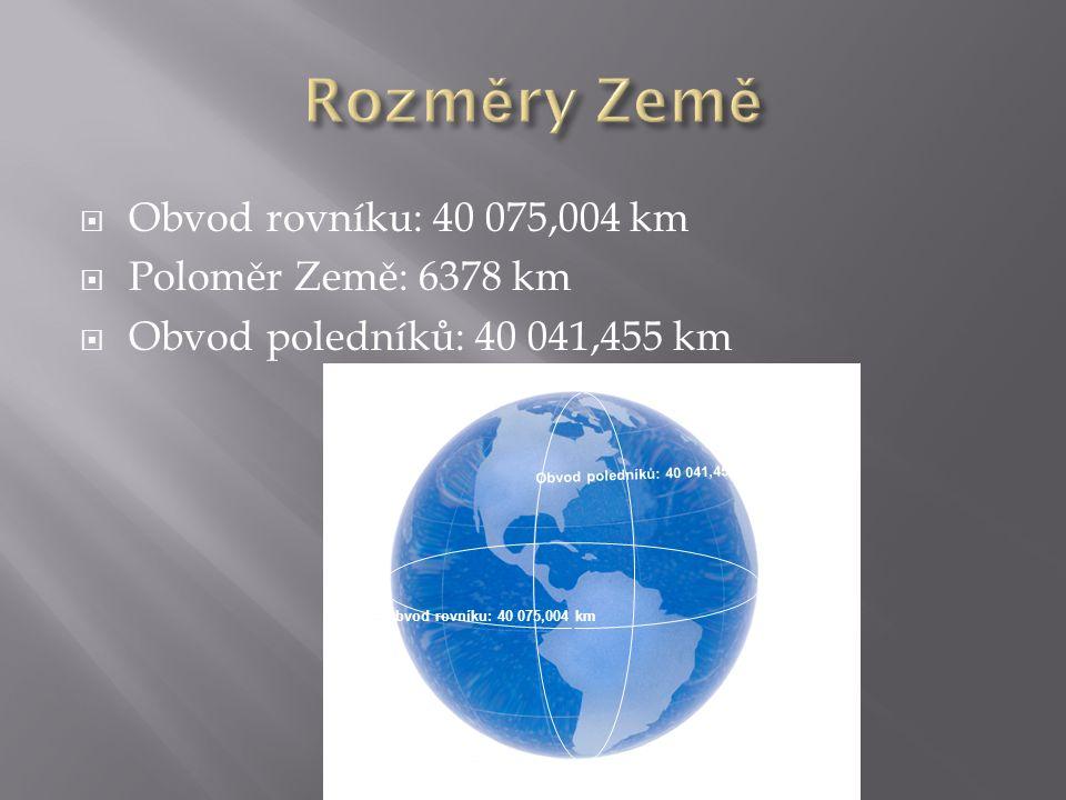  Obvod rovníku: 40 075,004 km  Poloměr Země: 6378 km  Obvod poledníků: 40 041,455 km Obvod rovníku: 40 075,004 km Obvod poledníků: 40 041,455 km