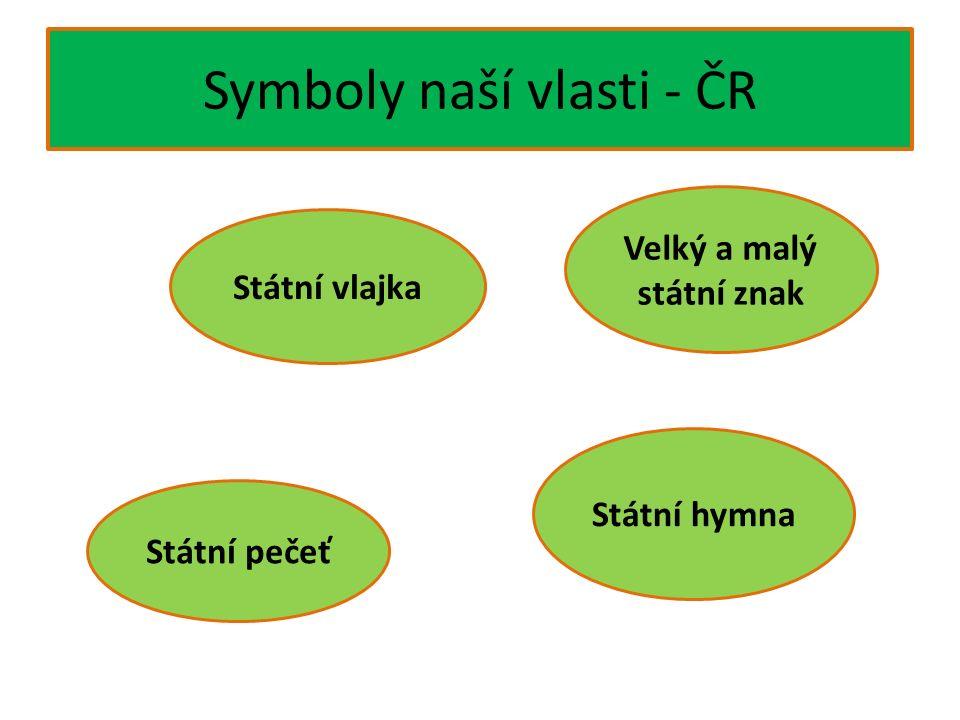 Symboly naší vlasti - ČR Státní vlajka Státní hymna Státní pečeť Velký a malý státní znak