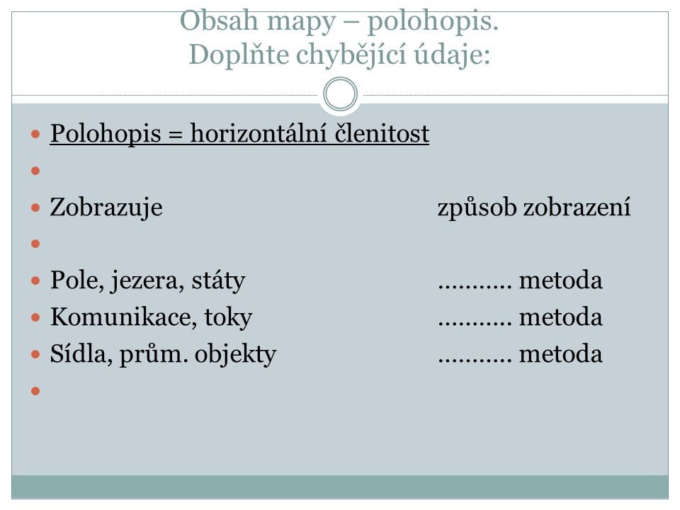 Obsah mapy – polohopis.