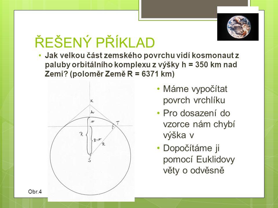 EUKLIDOVA VĚTA O ODVĚSNĚ Obsah čtverce sestrojeného nad odvěsnou pravoúhlého trojúhelníku je roven obsahu obdélníka, sestrojeného z přepony a úseku přepony této odvěsně přilehlé Jednodušeji podle obrázku: Obr.5