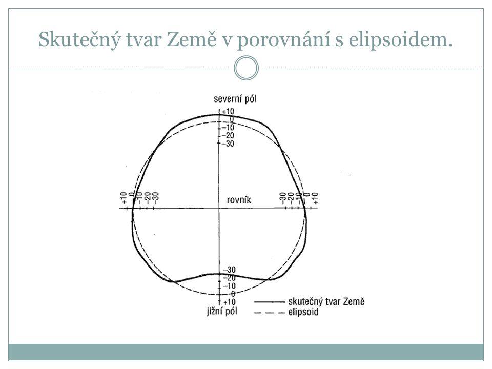 Skutečný tvar Země v porovnání s elipsoidem.