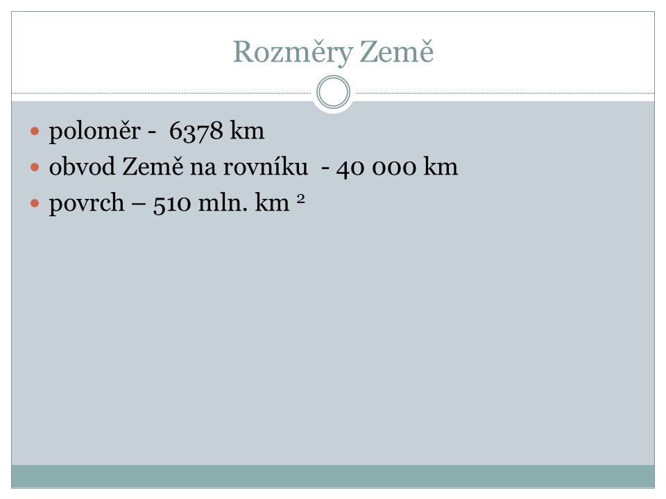 Rozměry Země poloměr - 6378 km obvod Země na rovníku - 40 000 km povrch – 510 mln. km 2