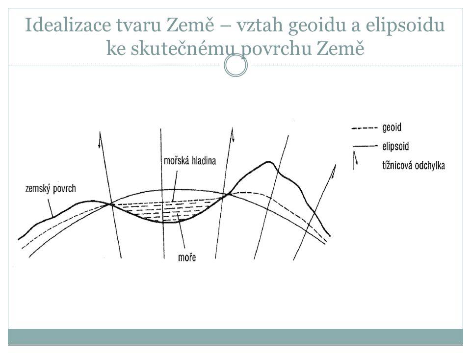 Idealizace tvaru Země – vztah geoidu a elipsoidu ke skutečnému povrchu Země
