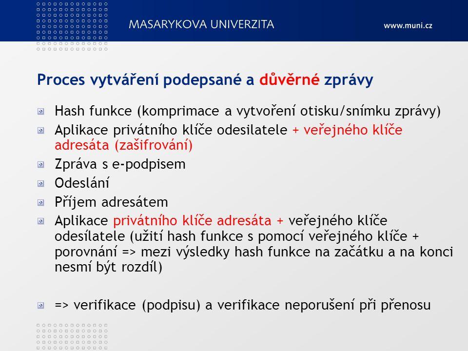 Proces vytváření podepsané a důvěrné zprávy Hash funkce (komprimace a vytvoření otisku/snímku zprávy) Aplikace privátního klíče odesilatele + veřejného klíče adresáta (zašifrování) Zpráva s e-podpisem Odeslání Příjem adresátem Aplikace privátního klíče adresáta + veřejného klíče odesílatele (užití hash funkce s pomocí veřejného klíče + porovnání => mezi výsledky hash funkce na začátku a na konci nesmí být rozdíl) => verifikace (podpisu) a verifikace neporušení při přenosu