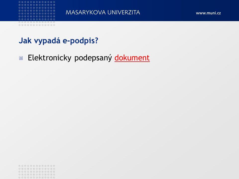 Jak vypadá e-podpis Elektronicky podepsaný dokumentdokument
