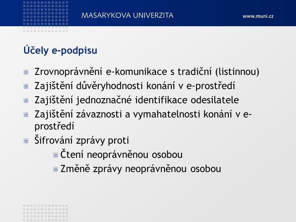 Účely e-podpisu Zrovnoprávnění e-komunikace s tradiční (listinnou) Zajištění důvěryhodnosti konání v e-prostředí Zajištění jednoznačné identifikace odesilatele Zajištění závaznosti a vymahatelnosti konání v e- prostředí Šifrování zprávy proti Čtení neoprávněnou osobou Změně zprávy neoprávněnou osobou