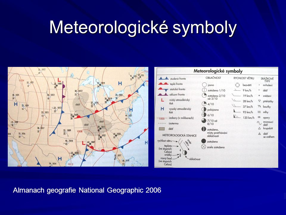 Meteorologické symboly Almanach geografie National Geographic 2006