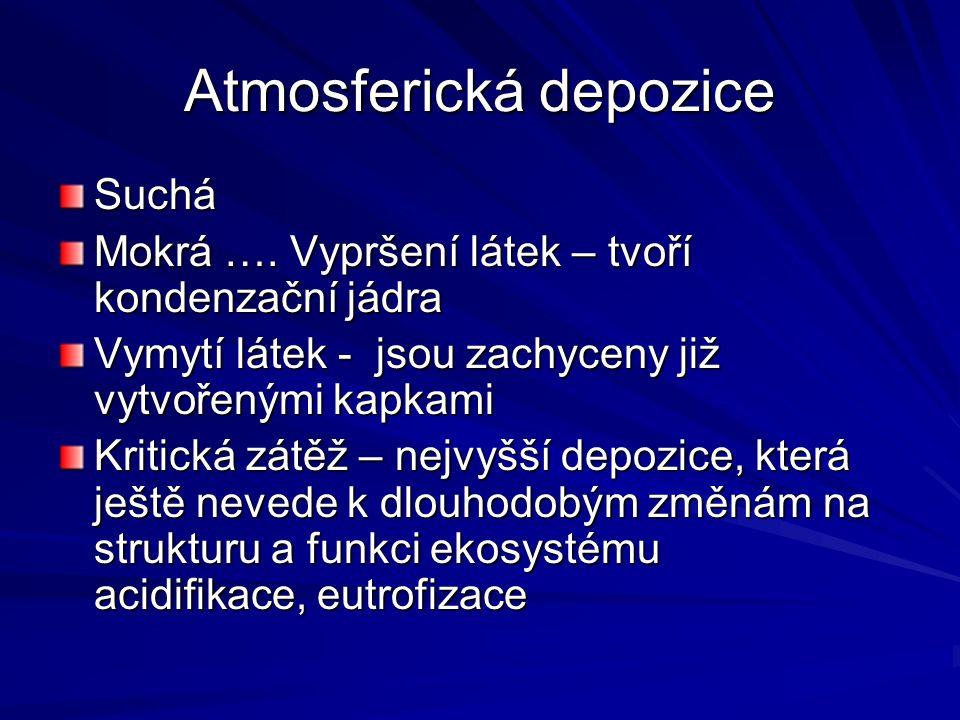 Atmosferická depozice Suchá Mokrá ….