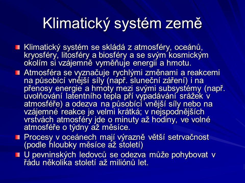Klimatický systém země Klimatický systém se skládá z atmosféry, oceánů, kryosféry, litosféry a biosféry a se svým kosmickým okolím si vzájemně vyměňuje energii a hmotu.