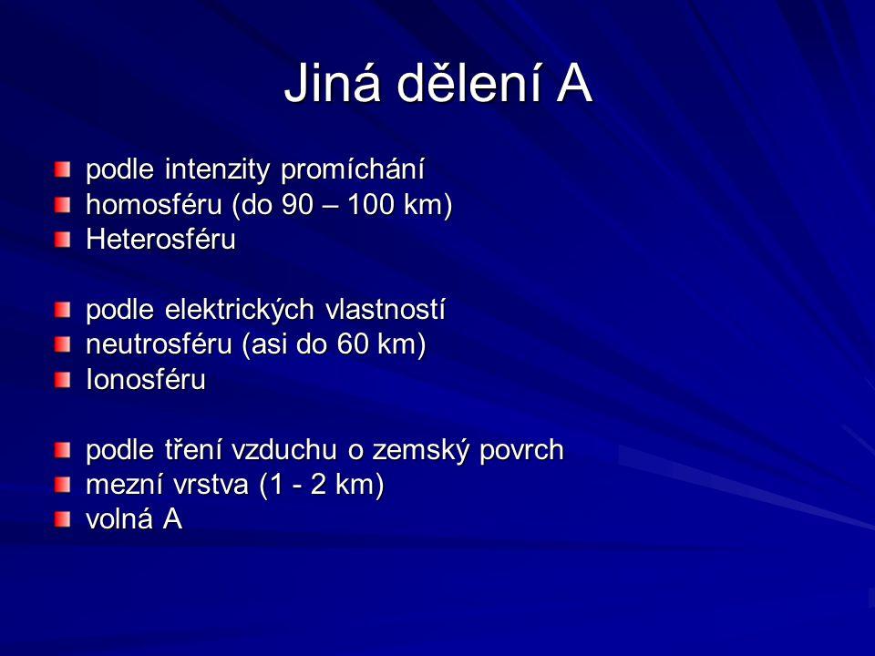Jiná dělení A podle intenzity promíchání homosféru (do 90 – 100 km) Heterosféru podle elektrických vlastností neutrosféru (asi do 60 km) Ionosféru podle tření vzduchu o zemský povrch mezní vrstva (1 - 2 km) volná A