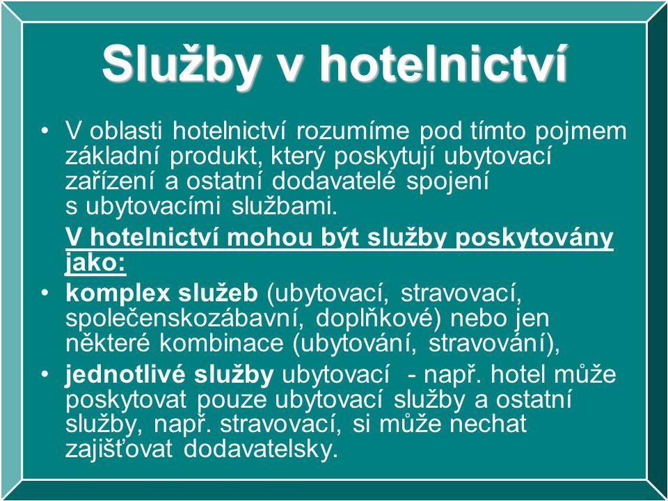 V oblasti hotelnictví rozumíme pod tímto pojmem základní produkt, který poskytují ubytovací zařízení a ostatní dodavatelé spojení s ubytovacími služba