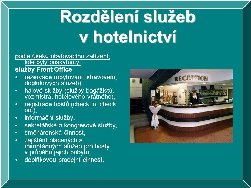 Rozdělení služeb v hotelnictví podle úseku ubytovacího zařízení, kde byly poskytnuty: služby Front Office rezervace (ubytování, stravování, doplňkovýc