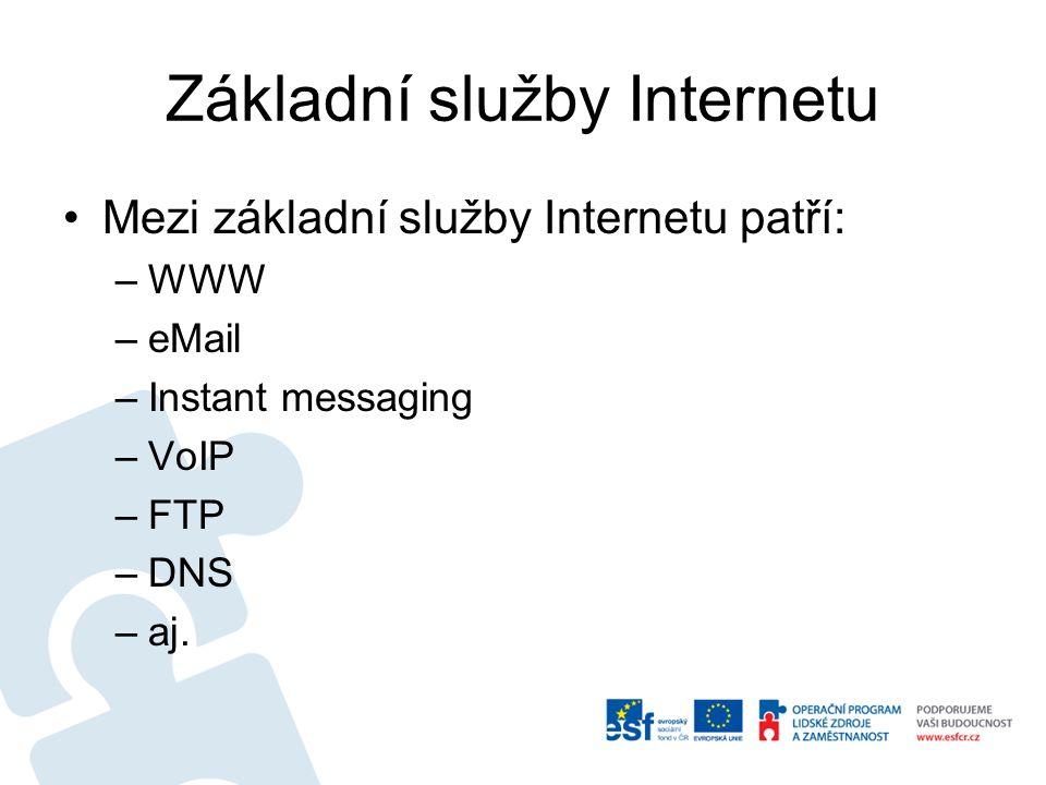 Základní služby Internetu Mezi základní služby Internetu patří: –WWW –eMail –Instant messaging –VoIP –FTP –DNS –aj.