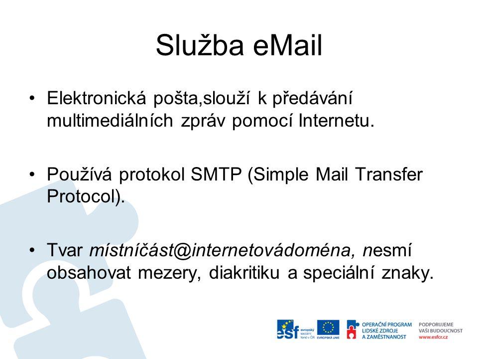 Služba eMail Elektronická pošta,slouží k předávání multimediálních zpráv pomocí Internetu. Používá protokol SMTP (Simple Mail Transfer Protocol). Tvar