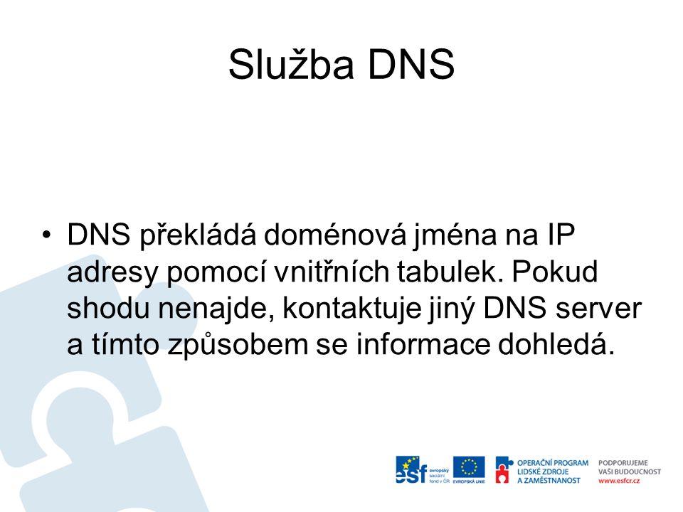 Služba DNS DNS překládá doménová jména na IP adresy pomocí vnitřních tabulek. Pokud shodu nenajde, kontaktuje jiný DNS server a tímto způsobem se info