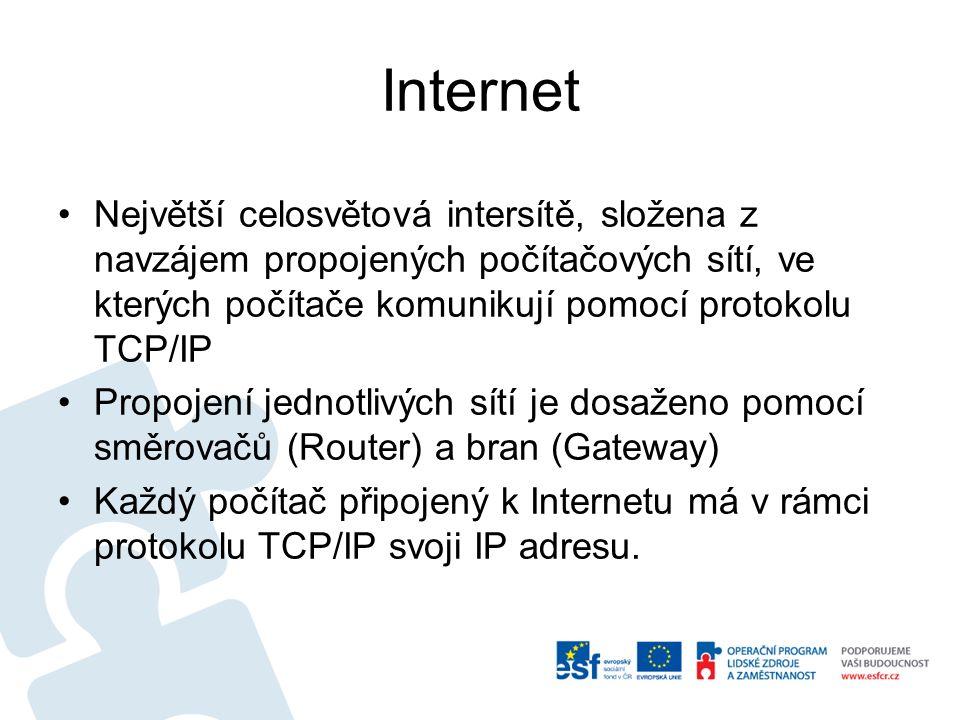 Internet Největší celosvětová intersítě, složena z navzájem propojených počítačových sítí, ve kterých počítače komunikují pomocí protokolu TCP/IP Prop