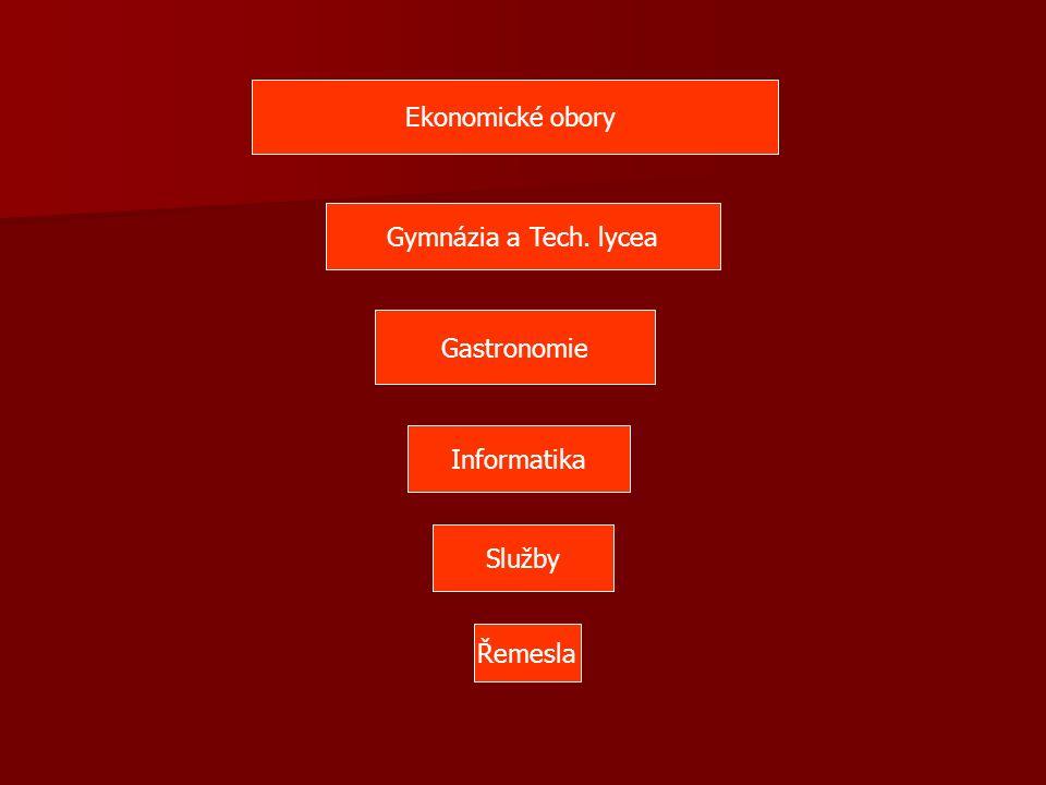 Ekonomické obory Gymnázia a Tech. lycea Gastronomie Služby Řemesla Informatika