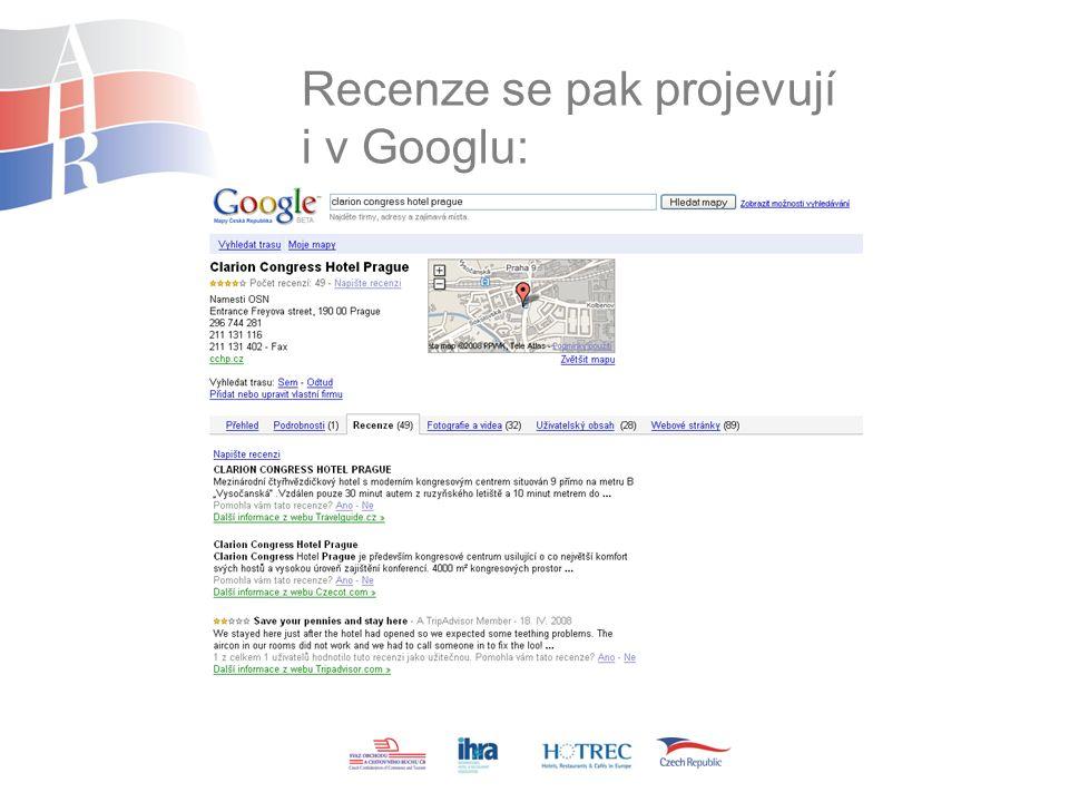 Recenze se pak projevují i v Googlu: