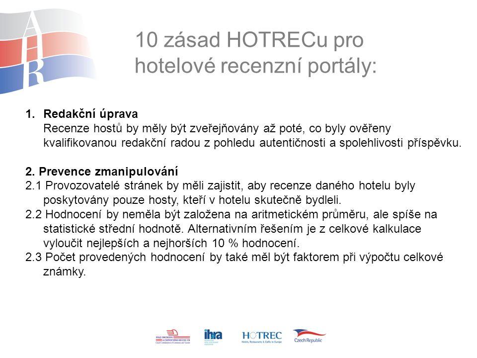 10 zásad HOTRECu pro hotelové recenzní portály: 1.Redakční úprava Recenze hostů by měly být zveřejňovány až poté, co byly ověřeny kvalifikovanou redakční radou z pohledu autentičnosti a spolehlivosti příspěvku.