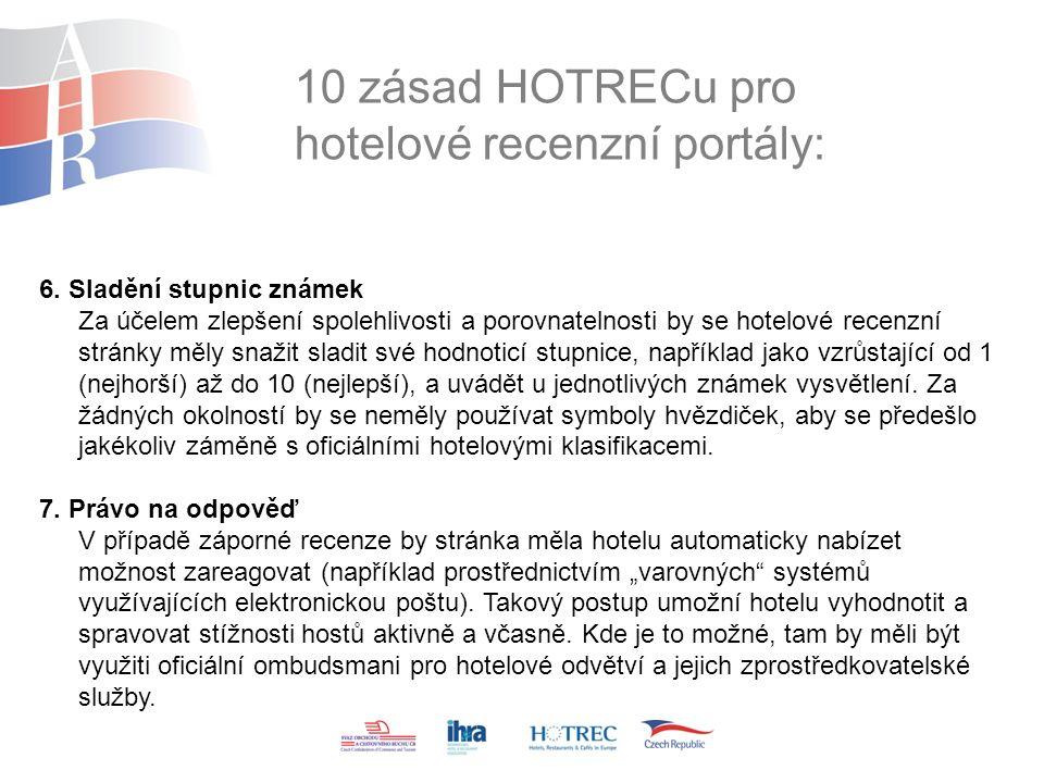 10 zásad HOTRECu pro hotelové recenzní portály: 6.