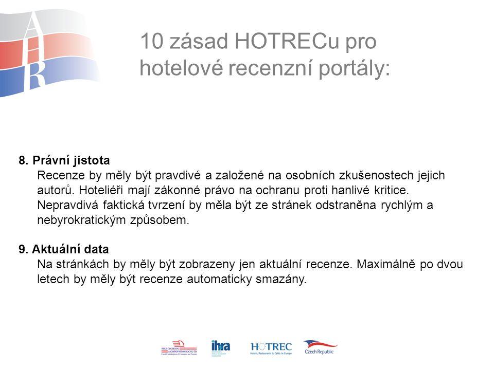 10 zásad HOTRECu pro hotelové recenzní portály: 8.