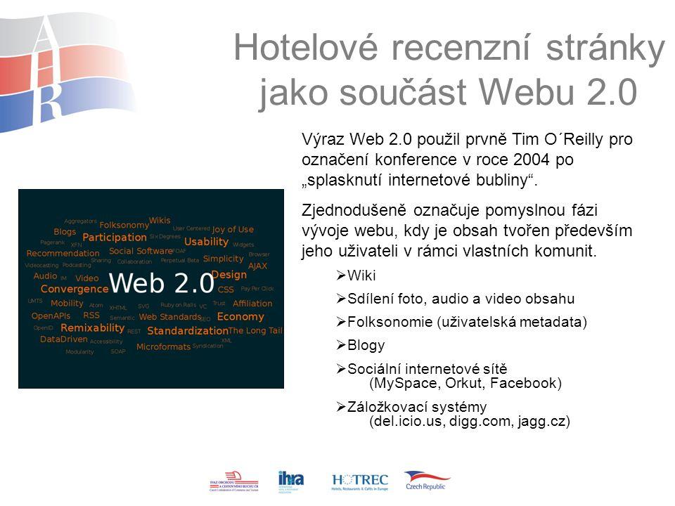 """Hotelové recenzní stránky jako součást Webu 2.0 Výraz Web 2.0 použil prvně Tim O´Reilly pro označení konference v roce 2004 po """"splasknutí internetové bubliny ."""