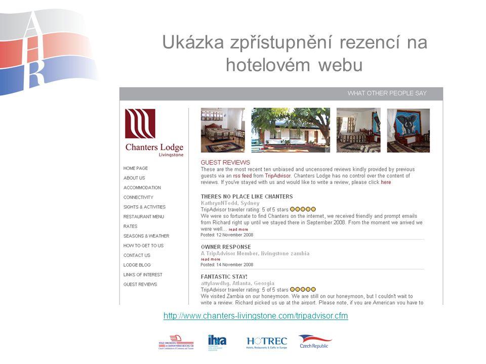 Ukázka zpřístupnění rezencí na hotelovém webu http://www.chanters-livingstone.com/tripadvisor.cfm