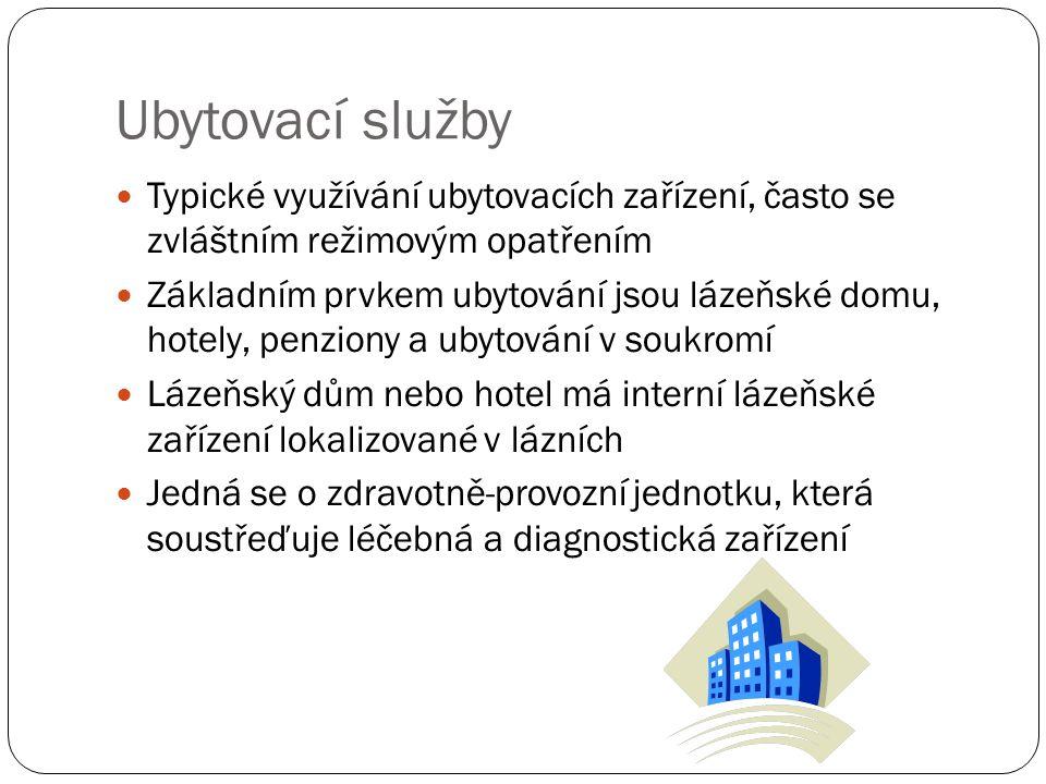 Ubytovací služby Typické využívání ubytovacích zařízení, často se zvláštním režimovým opatřením Základním prvkem ubytování jsou lázeňské domu, hotely, penziony a ubytování v soukromí Lázeňský dům nebo hotel má interní lázeňské zařízení lokalizované v lázních Jedná se o zdravotně-provozní jednotku, která soustřeďuje léčebná a diagnostická zařízení