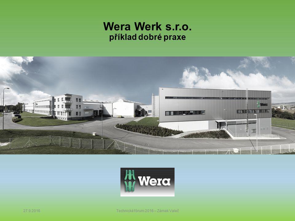 Wera Werk s.r.o. příklad dobré praxe 27.9.2016Technické fórum 2016 – Zámek Valeč