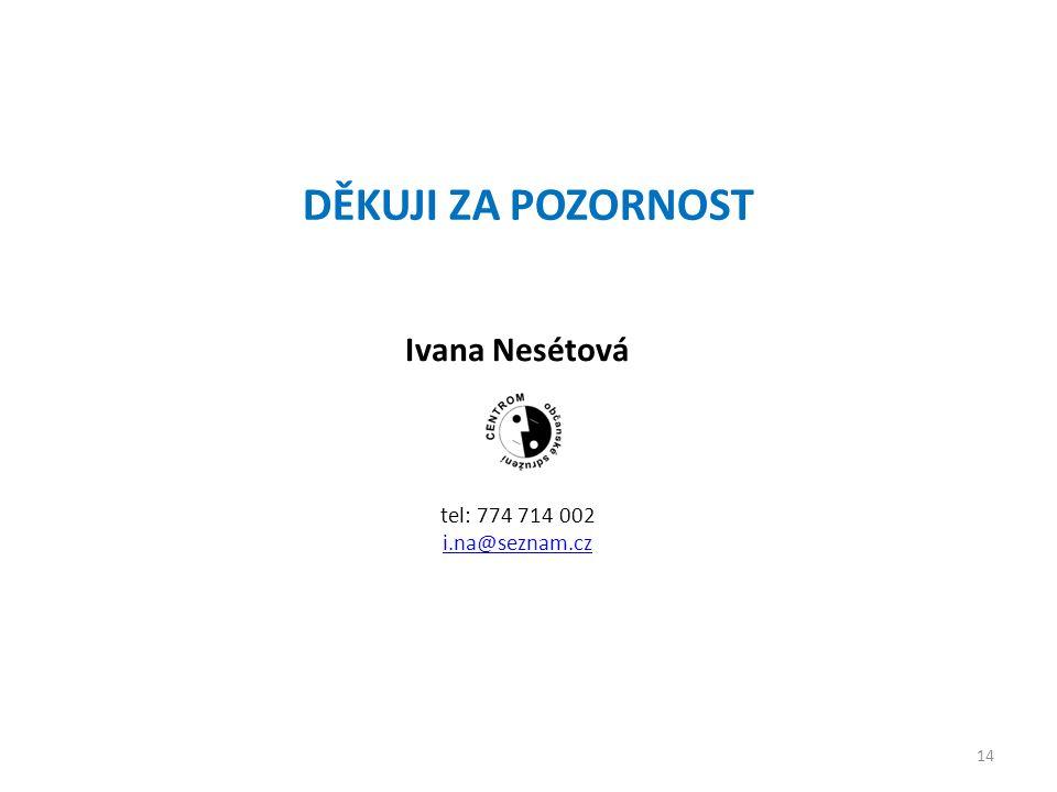 DĚKUJI ZA POZORNOST Ivana Nesétová tel: 774 714 002 i.na@seznam.cz 14