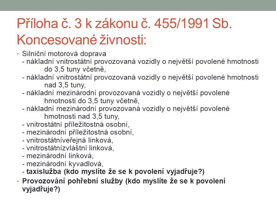 Příloha č. 3 k zákonu č. 455/1991 Sb.