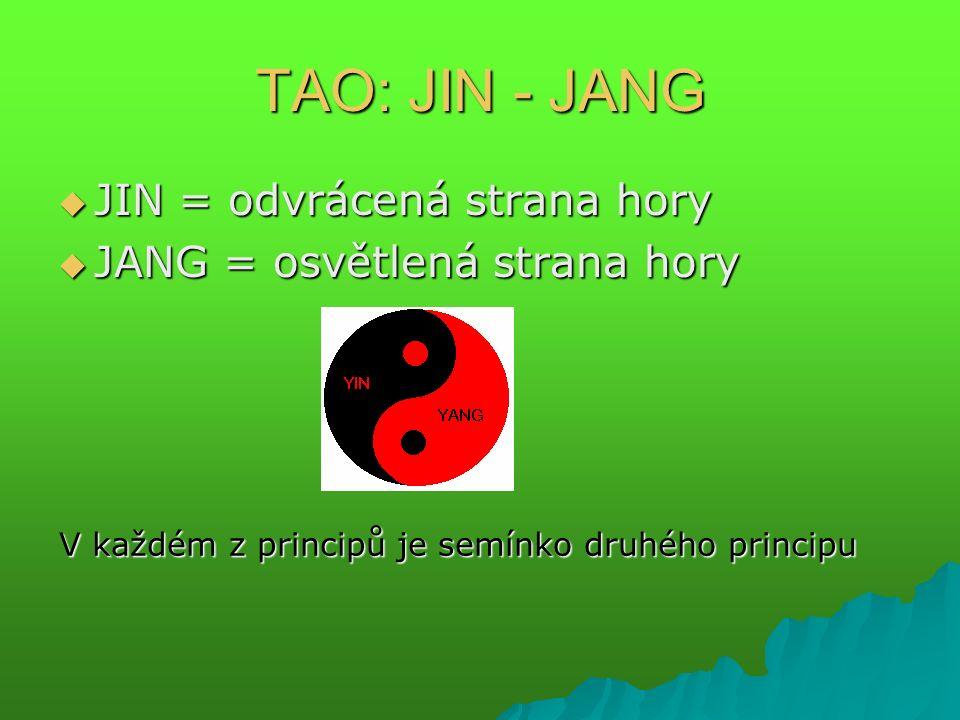 TAO: JIN - JANG  JIN = odvrácená strana hory  JANG = osvětlená strana hory V každém z principů je semínko druhého principu