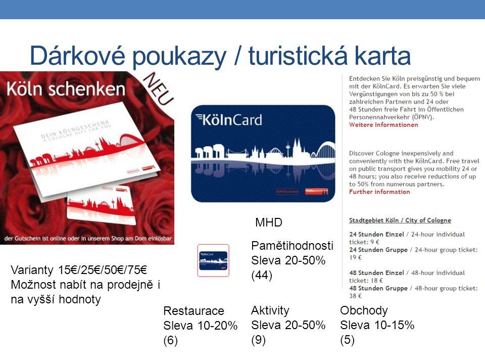 Dárkové poukazy / turistická karta MHD Pamětihodnosti Sleva 20-50% (44) Aktivity Sleva 20-50% (9) Obchody Sleva 10-15% (5) Restaurace Sleva 10-20% (6) Varianty 15€/25€/50€/75€ Možnost nabít na prodejně i na vyšší hodnoty