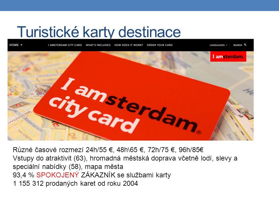 Turistické karty destinace Různé časové rozmezí 24h/55 €, 48h\65 €, 72h/75 €, 96h/85€ Vstupy do atraktivit (63), hromadná městská doprava včetně lodí, slevy a speciální nabídky (58), mapa města 93,4 % SPOKOJENÝ ZÁKAZNÍK se službami karty 1 155 312 prodaných karet od roku 2004
