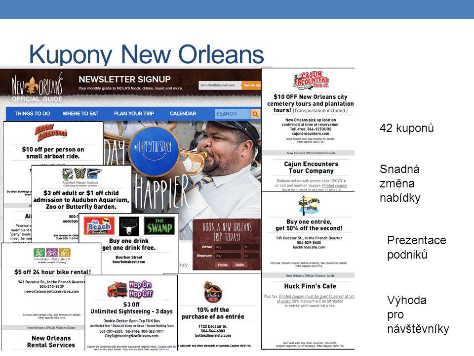 Kupony New Orleans 42 kuponů Snadná změna nabídky Prezentace podniků Výhoda pro návštěvníky