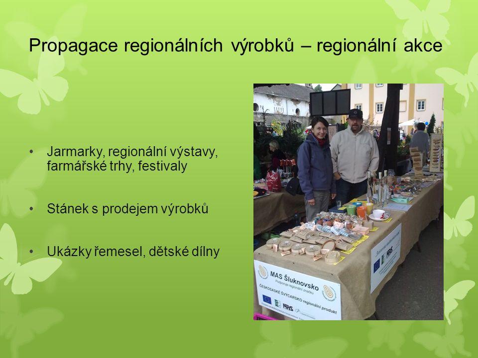Propagace regionálních výrobků – regionální akce Jarmarky, regionální výstavy, farmářské trhy, festivaly Stánek s prodejem výrobků Ukázky řemesel, dětské dílny