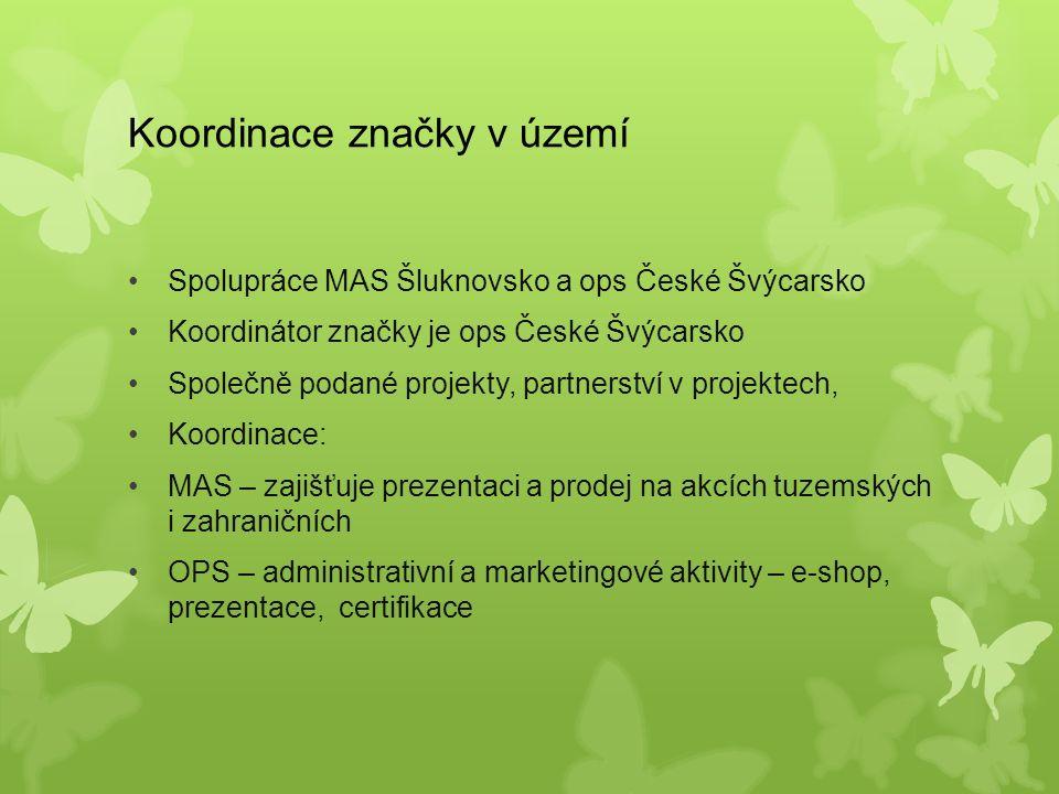Koordinace značky v území Spolupráce MAS Šluknovsko a ops České Švýcarsko Koordinátor značky je ops České Švýcarsko Společně podané projekty, partnerství v projektech, Koordinace: MAS – zajišťuje prezentaci a prodej na akcích tuzemských i zahraničních OPS – administrativní a marketingové aktivity – e-shop, prezentace, certifikace